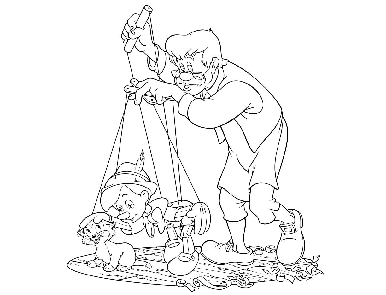 Geppetto Gioca Con Pinocchio E Figaro La Scuola Di Rosa